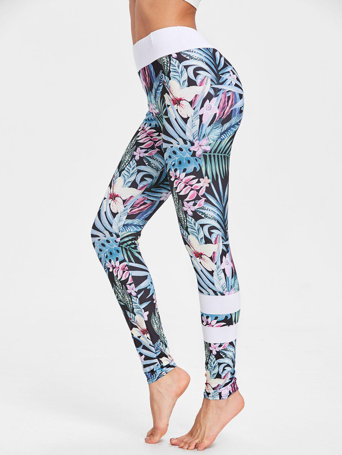 Tropical Floral Print High Waisted Leggings - FLORAL XL