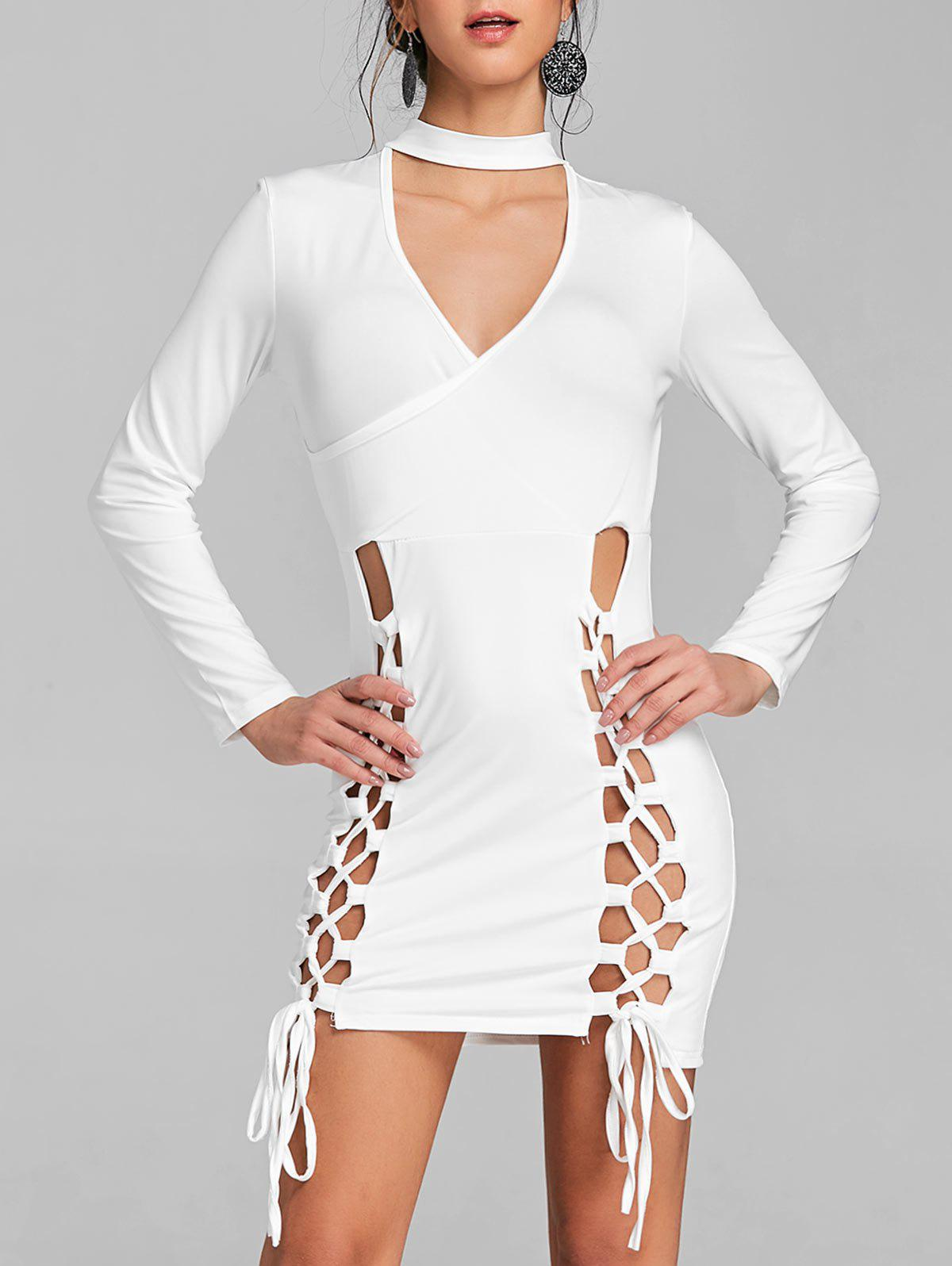 Lace Up Surplice Neck Choker Dress - WHITE S