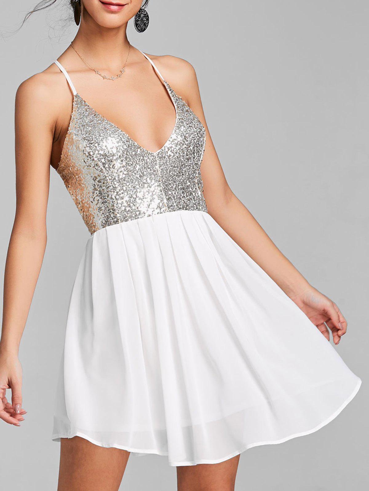 Open Back Sequin Chiffon Cami Dress - WHITE L