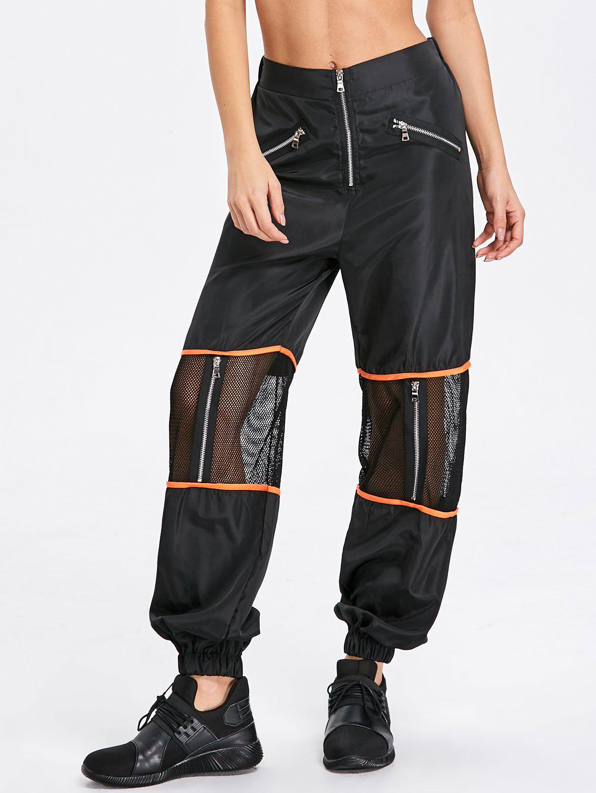 Zipper Fly Mesh Trim Pants - BLACK M