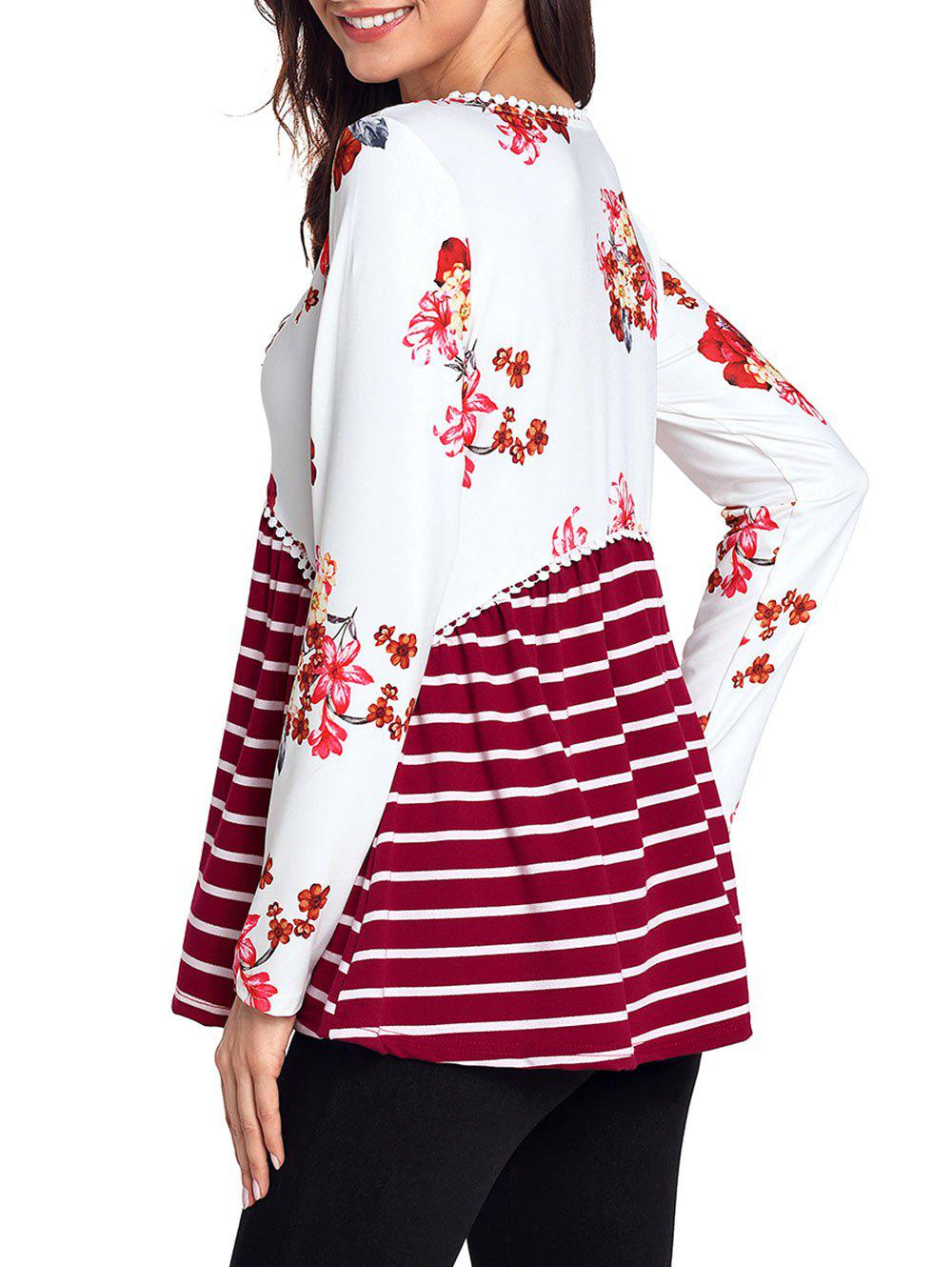 Trimmed Floral and Striped Tunic Top - RED L