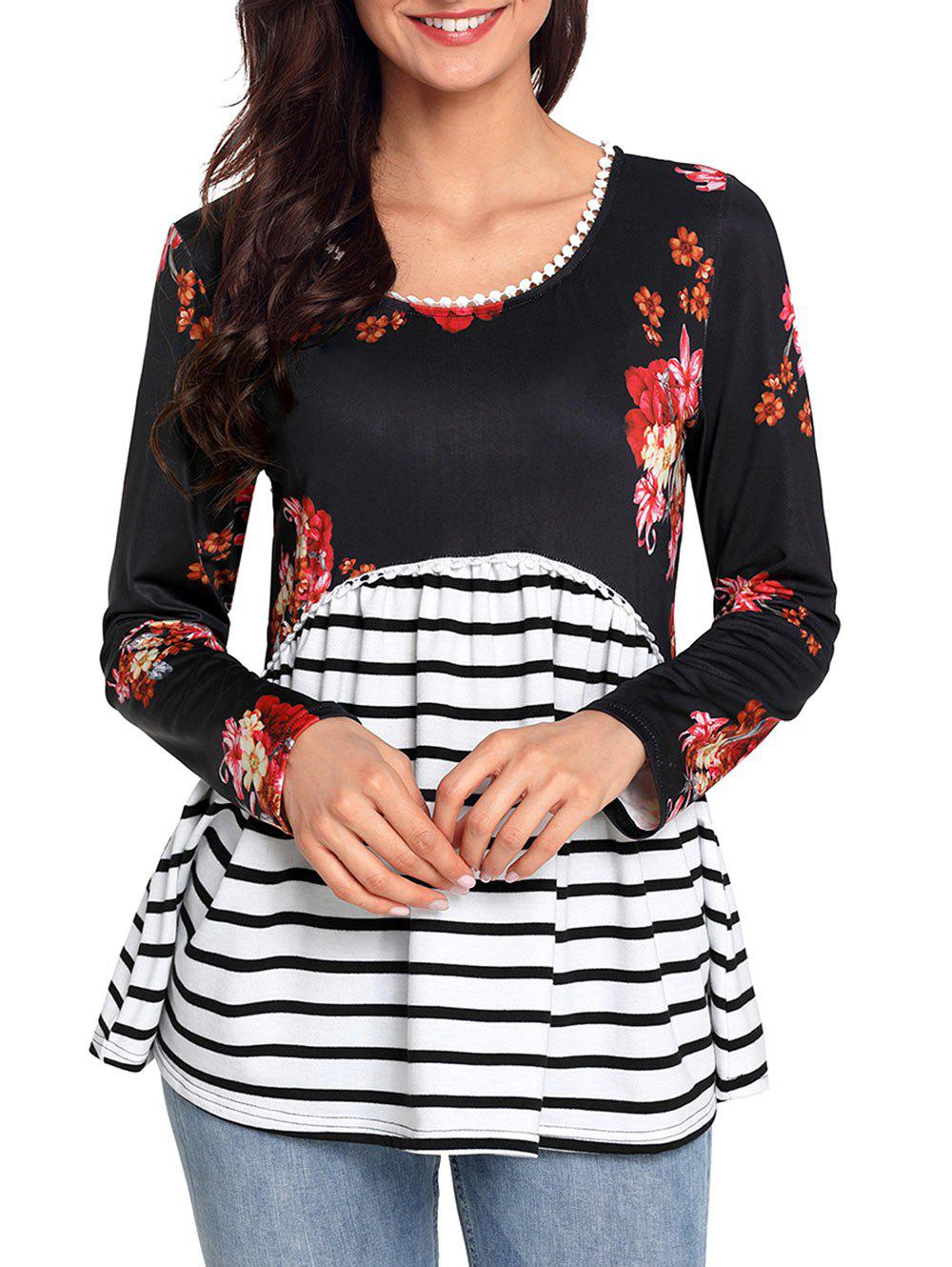 Trimmed Floral and Striped Tunic Top - BLACK 2XL