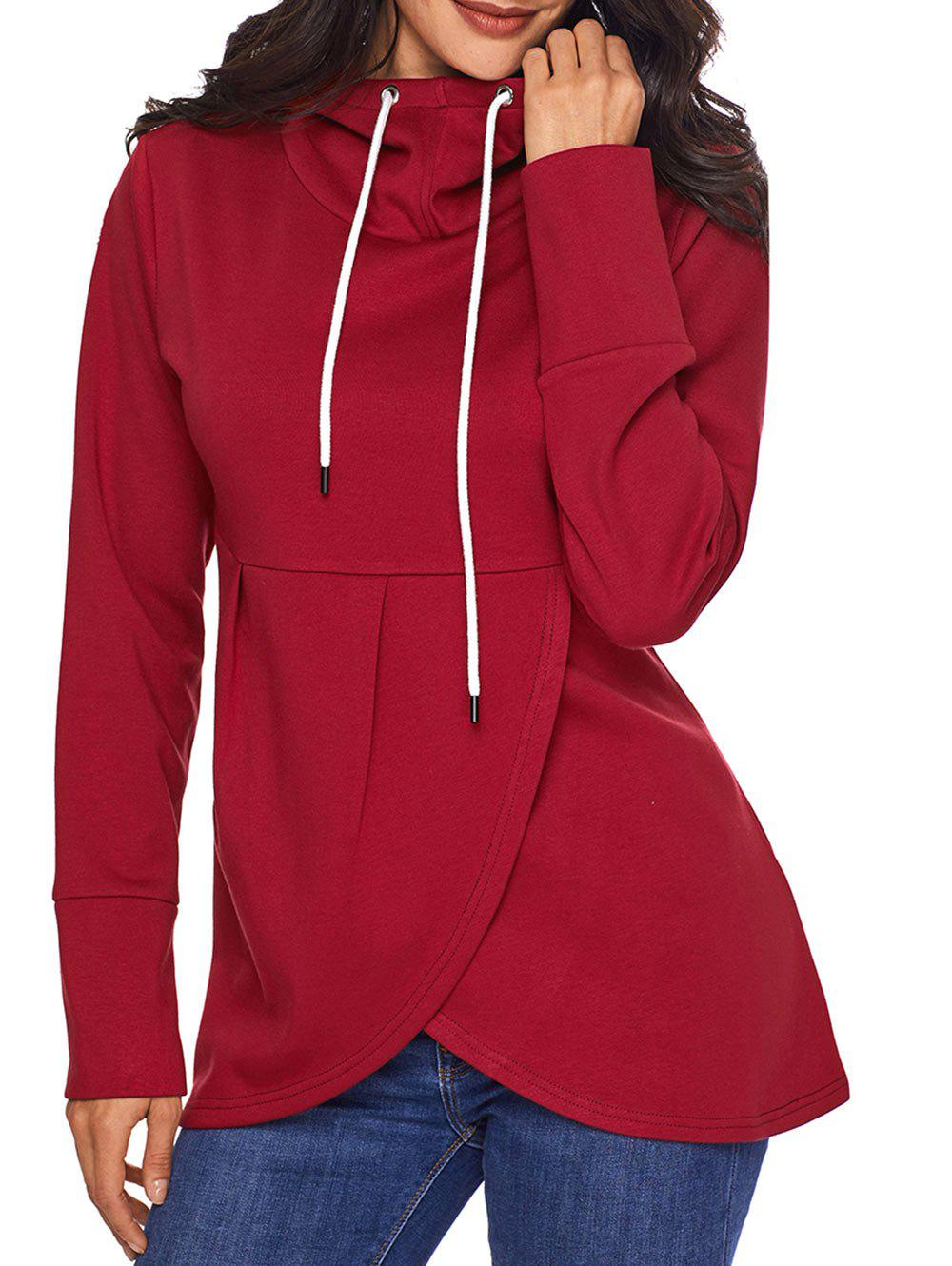 Overlap Pullover Drawstring Hoodie - RED M