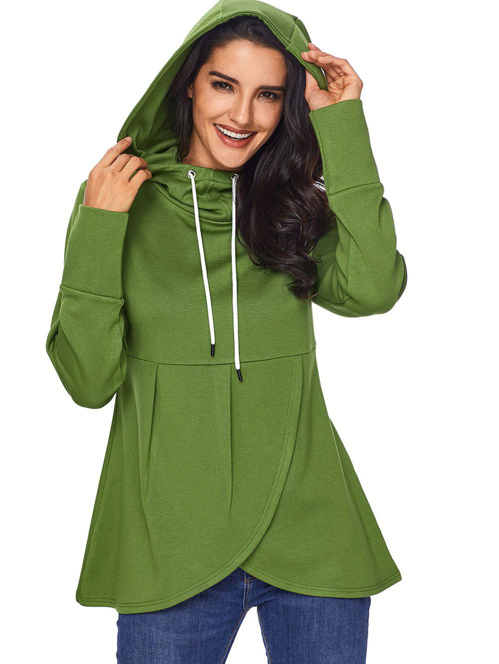 Overlap Pullover Drawstring Hoodie - GREEN 2XL