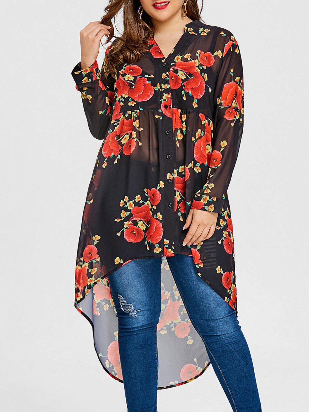 Valentine Plus Size Floral Print Blouse - BLACK XL