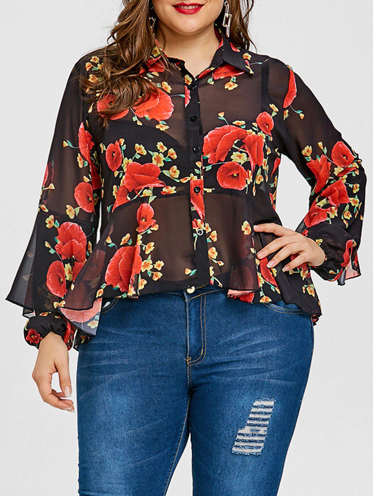 Valentine Skirted Rose Print Plus Size Blouse - BLACK 2XL
