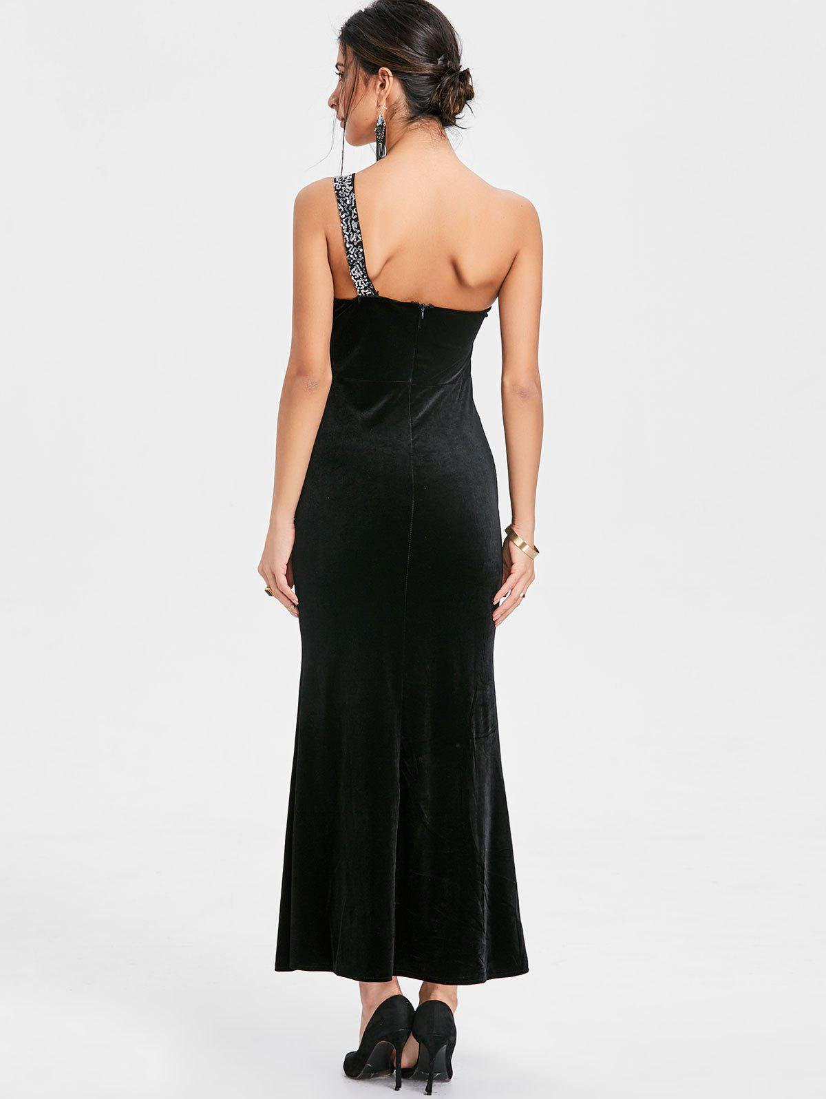 Sequin One Shoulder Maxi Party Dress - BLACK ONE SIZE