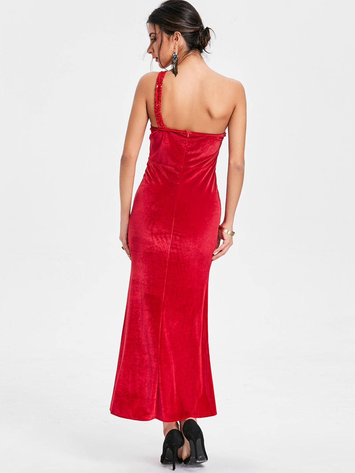 Sequin One Shoulder Maxi Party Dress - RED ONE SIZE