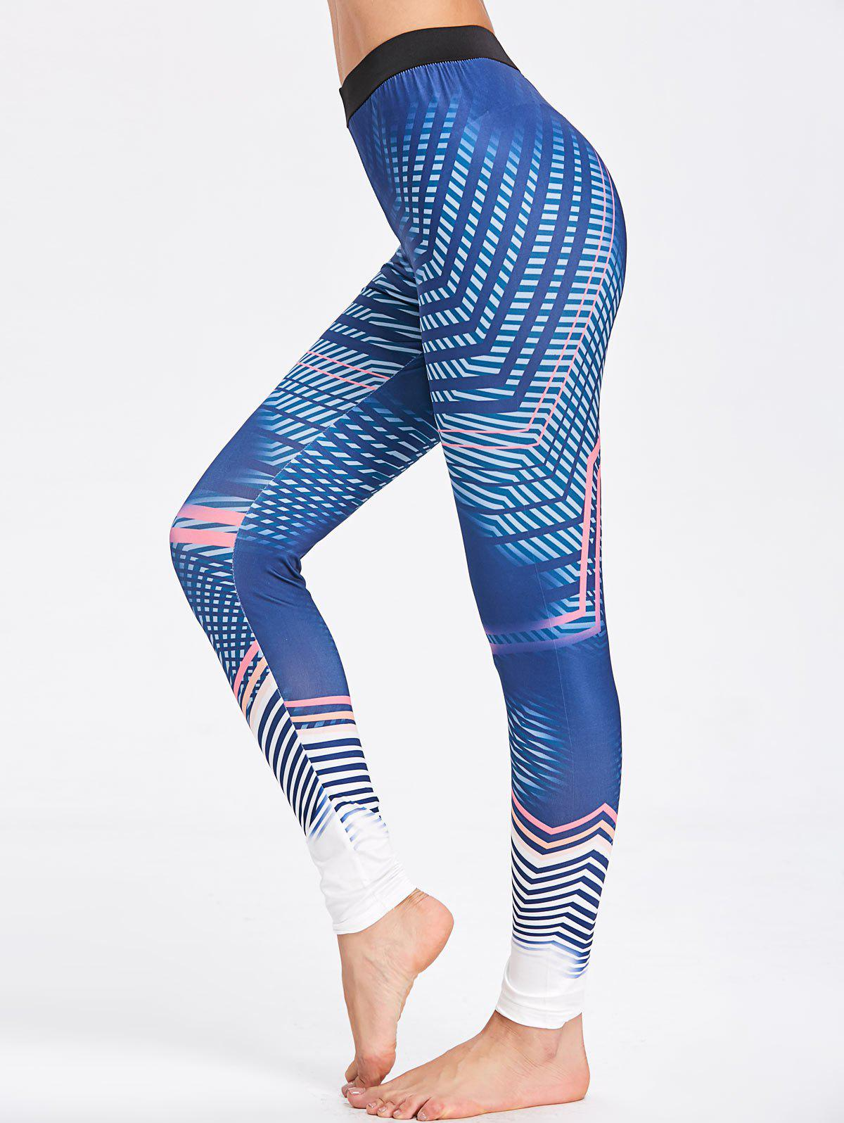 Pattern Lines Workout Leggings - CERULEAN M