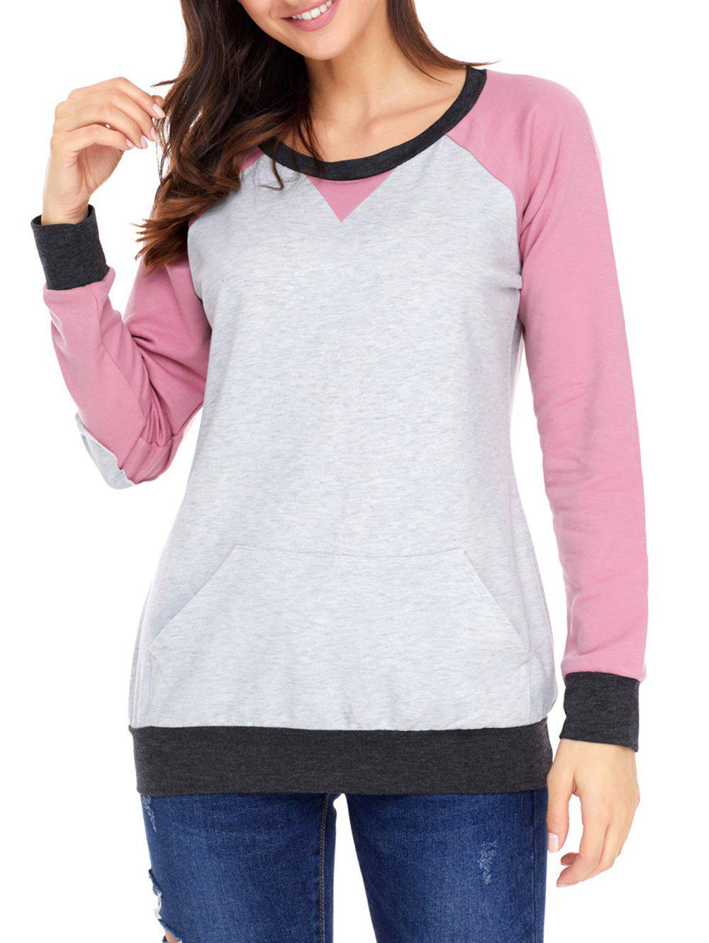 Kangaroo Pocket Color Block Elbow Patch Sweatshirt - PINK 2XL