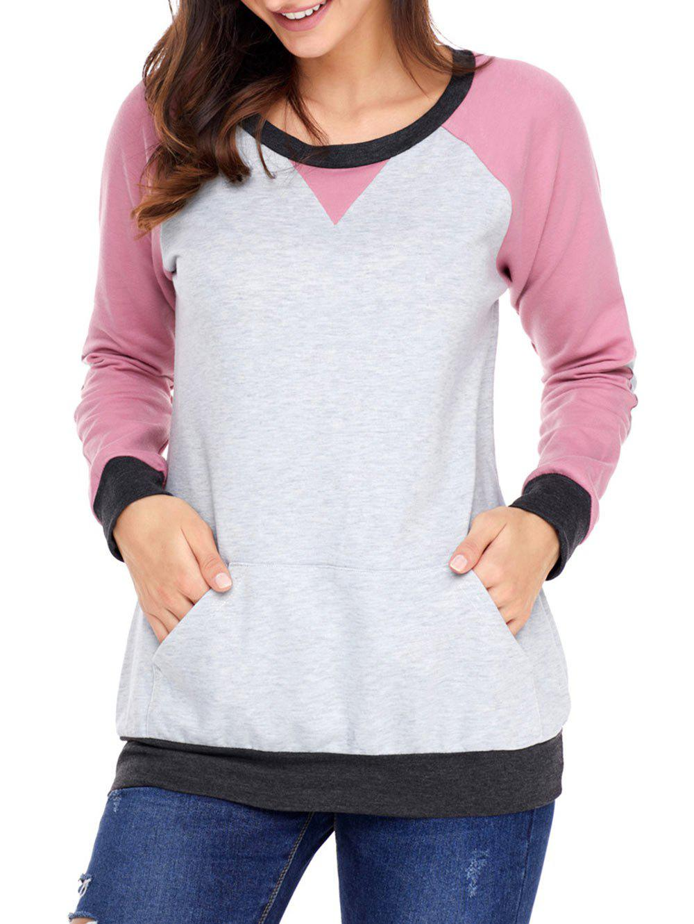 Kangaroo Pocket Color Block Elbow Patch Sweatshirt - PINK XL