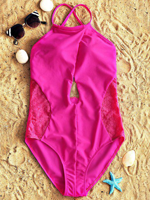 Lace Panel High Neck Keyhole One Piece Swimsuit - SANGRIA S