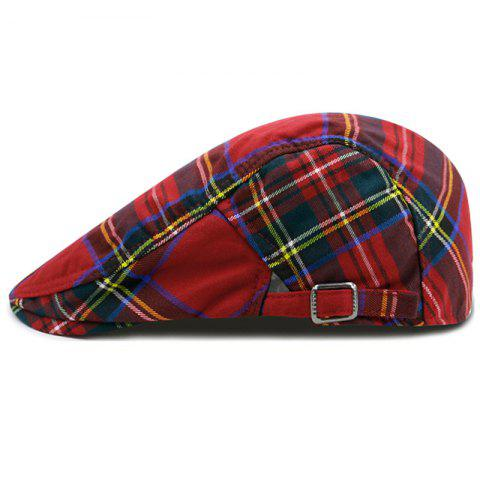 Checkered Pattern Embellished Adjustable Newsboy Cap - RED