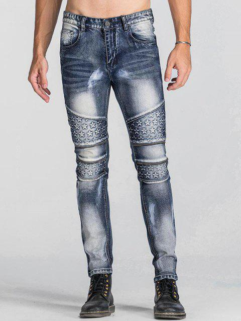 Star Emboss Zip Teeth Embellished Jeans - BLUE 30
