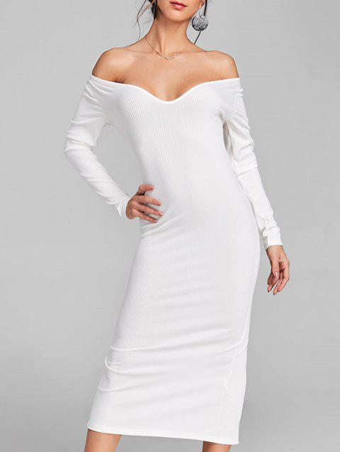 Open Shoulder Long Sleeve Ribbed Dress - WHITE M
