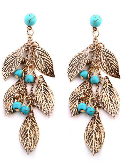 Layered Leaves and Beaded Drop Earrings - GOLDEN