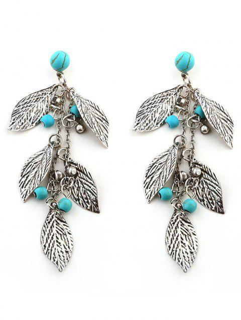 Layered Leaves and Beaded Drop Earrings - SILVER