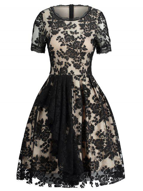 Lace Insert Jacquard Fit and Flare Dress - BLACK S