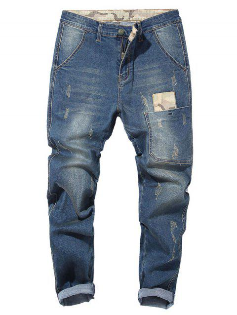 Camo Patch Tapered Drop Crotch Jeans - LIGHT BLUE 36