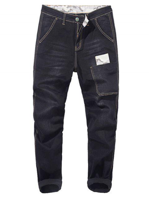 Camo Patch Tapered Drop Crotch Jeans - BLACK 34