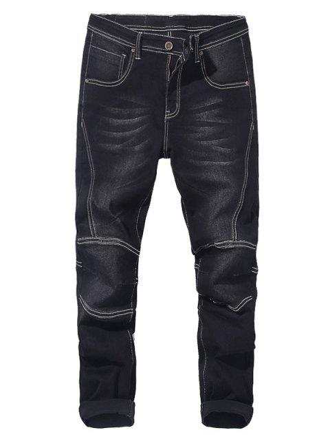 Taper Fit Zip Fly Jeans - BLACK 34