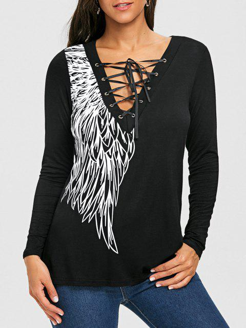 Lace Up Wing Print Long Sleeve Top - BLACK 2XL