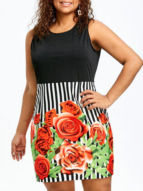 Plus Size Floral Sleeveless Sheath Dress - COLORMIX 5XL