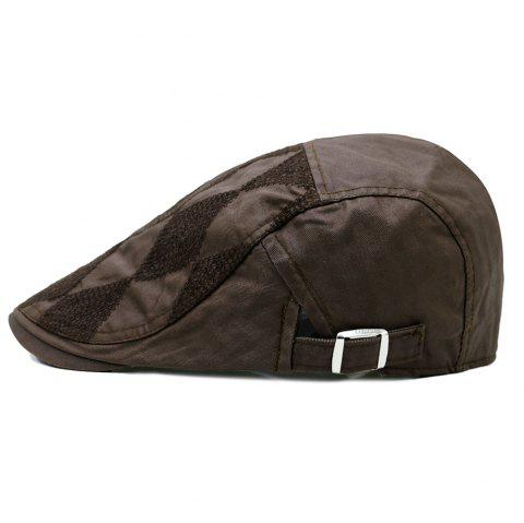 Rhombus Pattern Adjustable Cabbie Hat - CAPPUCCINO