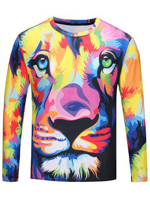 Crew Neck Colorful Animal Pattern Tee - COLORMIX 2XL