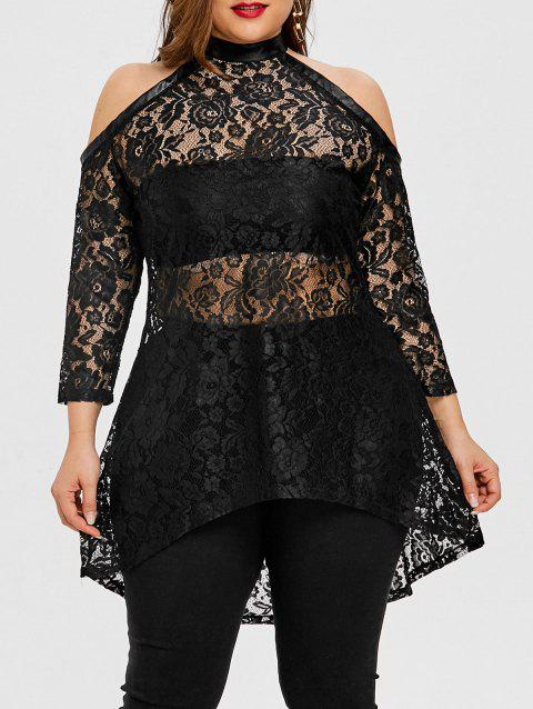 f4be19c79b3 LIMITED OFFER  2019 Floral Lace High Low Plus Size Top In BLACK XL ...