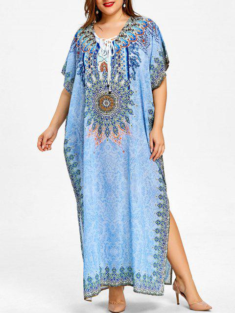 Robe Caftan Longue Florale Grande Taille - Azur ONE SIZE