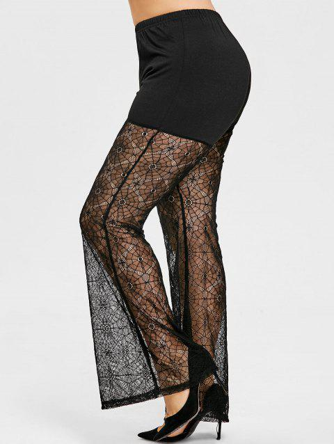 Plus Size Sheer Lace Flare Leggings - BLACK 5XL
