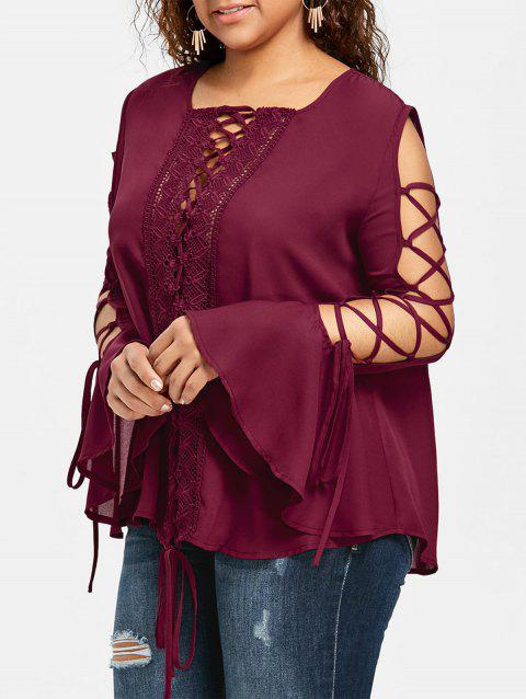 Plus Size Lace Panel Flare Sleeve Blouse - WINE RED 3XL