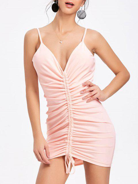 Plunging Neck Cami Strap Ruched Dress - PINK M