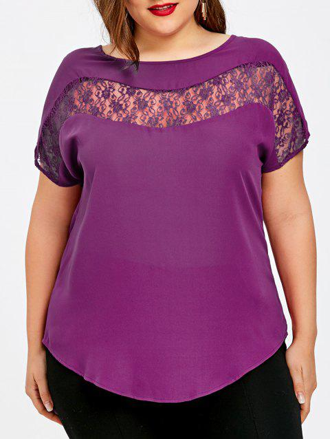 Plus Size Lace Trim Curved Hem Blouse - PURPLE 3XL