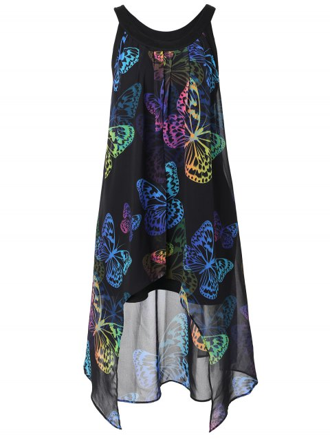 Colorful Butterfly Printed Plus Size Sleeveless Blouse - BLACK XL