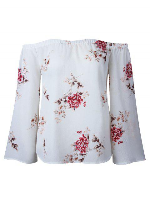 Floral Print Off Shoulder Blouse - WHITE S