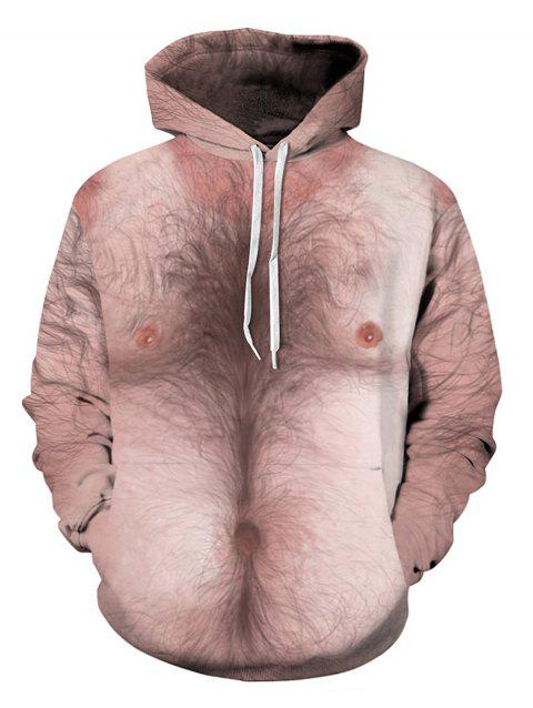 Kangaroo Pocket Human Body 3D Printed Funny Hoodie - LIGHT PINK 2XL