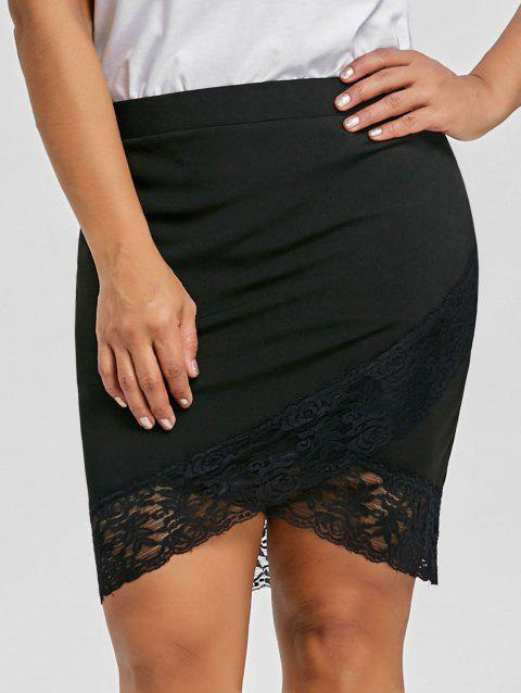 Plus Size Lace Panel Crossover Front Skirt - BLACK 2XL