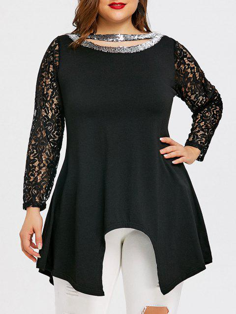 Sequin Cutout Plus Size Asymmetric T-shirt - BLACK 4XL