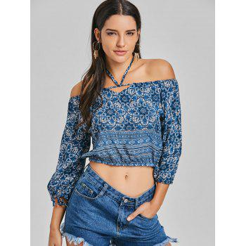 Halter Print Crop Blouse - BLUE L