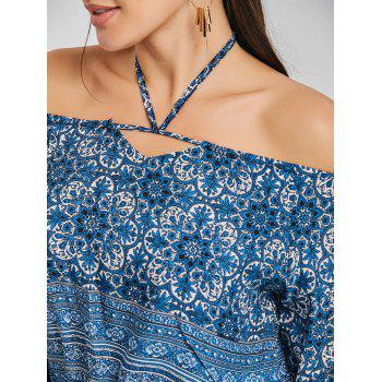 Halter Print Crop Blouse - BLUE XL