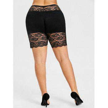 Rose Lace Insert Plus Size Safety Shorts - BLACK BLACK