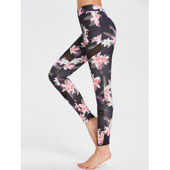 Mesh Panel Floral Print Sports Leggings - FLORAL S