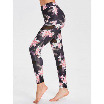 Mesh Panel Floral Print Sports Leggings - FLORAL M