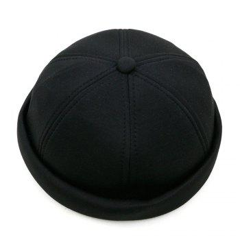 Unique Line Embroidery Adjustable Beret -  BLACK