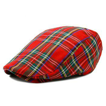 Simple Tartan Pattern Cabbie Hat - RED RED