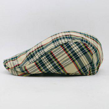 Simple Tartan Pattern Cabbie Hat -  BEIGE