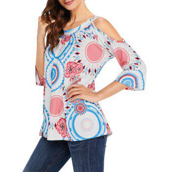 Floral and Circle Print Cold Shoulder Top - WHITE S