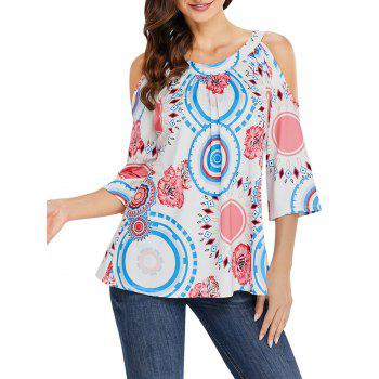 Floral and Circle Print Cold Shoulder Top - WHITE M